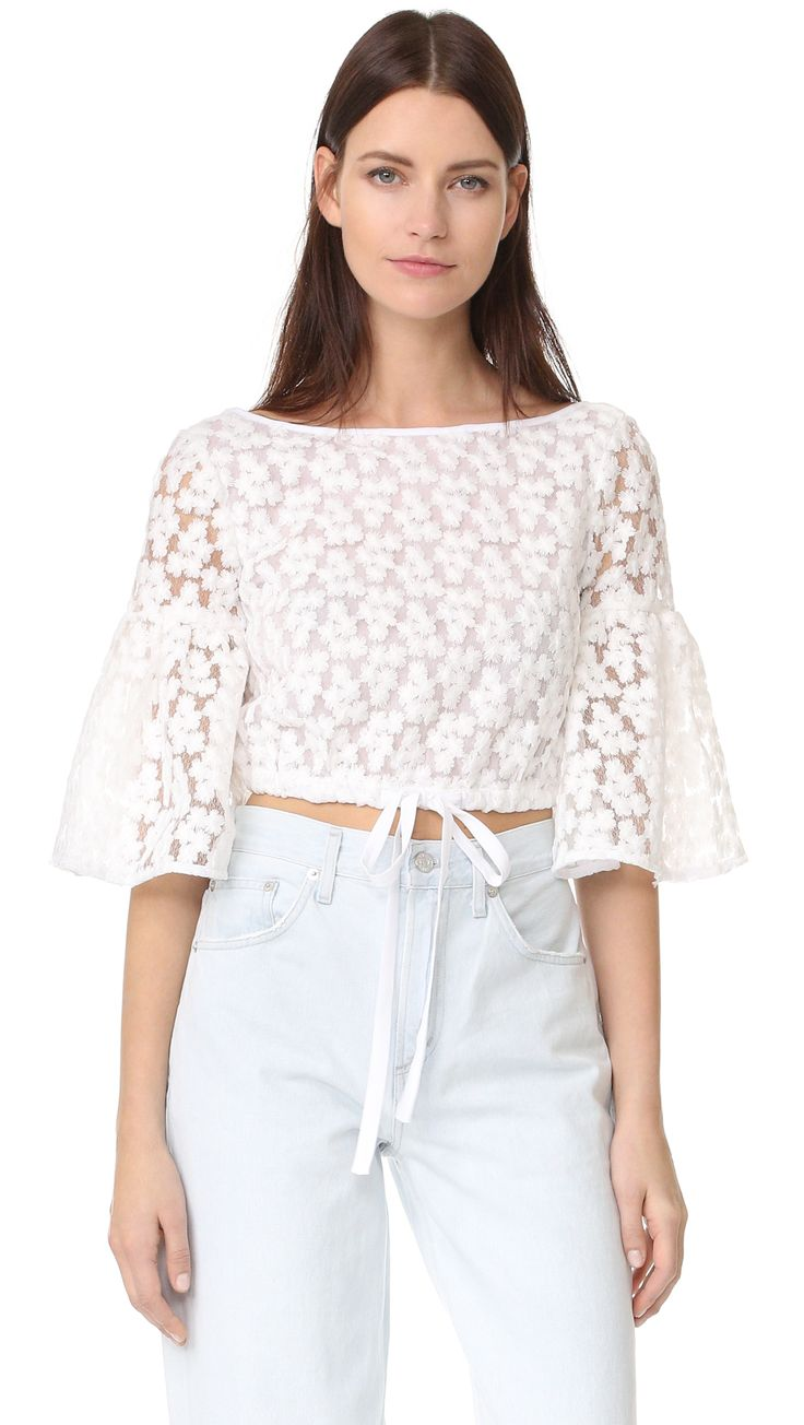 Milly Floral Embroidery Lydia Top | SHOPBOP