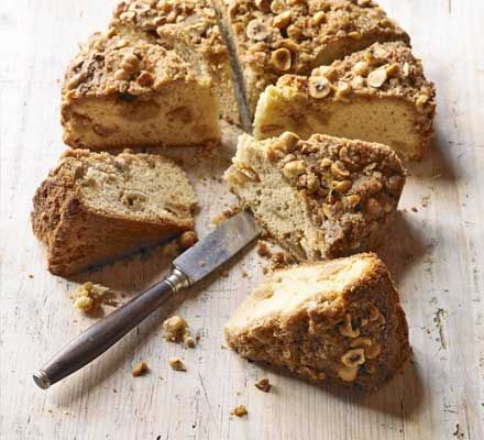 Caramelised apple cake with streusel topping    http://www.bbcgoodfood.com/recipes/12842/caramelised-apple-cake-with-streusel-topping