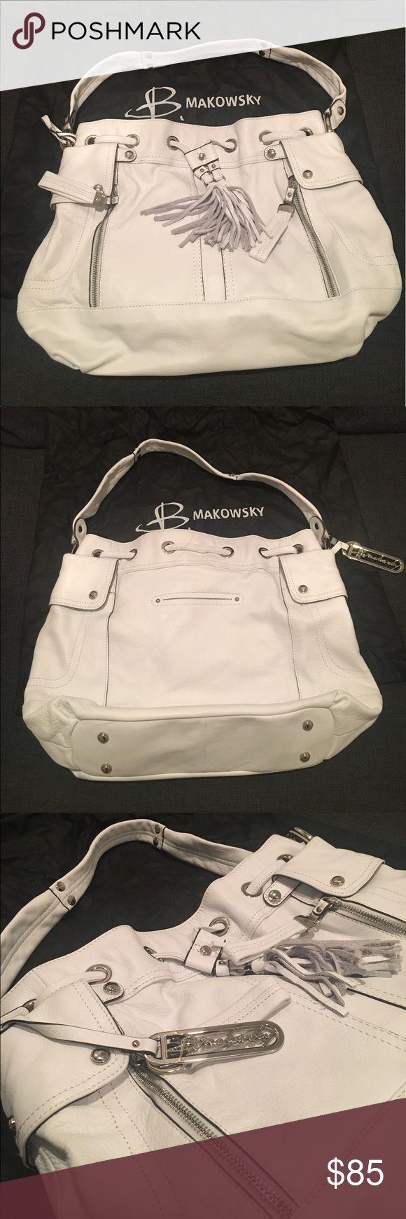 White b. makowsky shoulder bag. White b. makowsky handbag. Barely used. Excellent condition. b. makowsky Bags Shoulder Bags