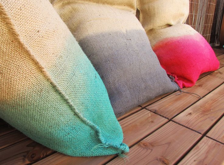 Burlap pillows?  Great for the backyard to keep guests comfortable!