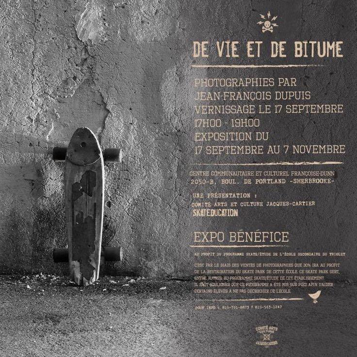 De vie et de bitume nous présente le portrait hors piste d'une poignée de skaters sherbrookois. Raconté à la façon de Richard Avedon, le photographe Jean-François Dupuis, aguerris à la photo de rue, nous présente ces jeunes d'une façon intimiste. Exit...