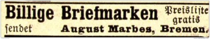 Original-Werbung/ Anzeige 1898 - BRIEFMARKEN AUGUST MARBES - BREMEN  - ca. 45  x 10 mm