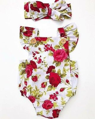 Red Flowers Baby Girl Summer Clothing Set