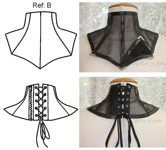 Here i offer a 2 sets including paper patterns to do lace or fabric neck collar with back zipper and eyelets lacing.  1 set for 9 pieces pattern Ref A 1 set for 10 pieces pattern Ref B  Photos of fabric and lace neck collars are exemple of made and are NOT including to this sale.  This advert include pieces of paper patterns as digital CAO print on A3 size paper and little instruction sketch to do your own collar.  I personaly drafted the pattern so they come on paper.  Totally closed…