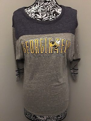 Georgia Tech Shirt M Rivalry Threads Grey Batwing Yellow Jackets Metallic