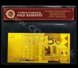 Zlatá bankovka 50 Euro - 24 karat
