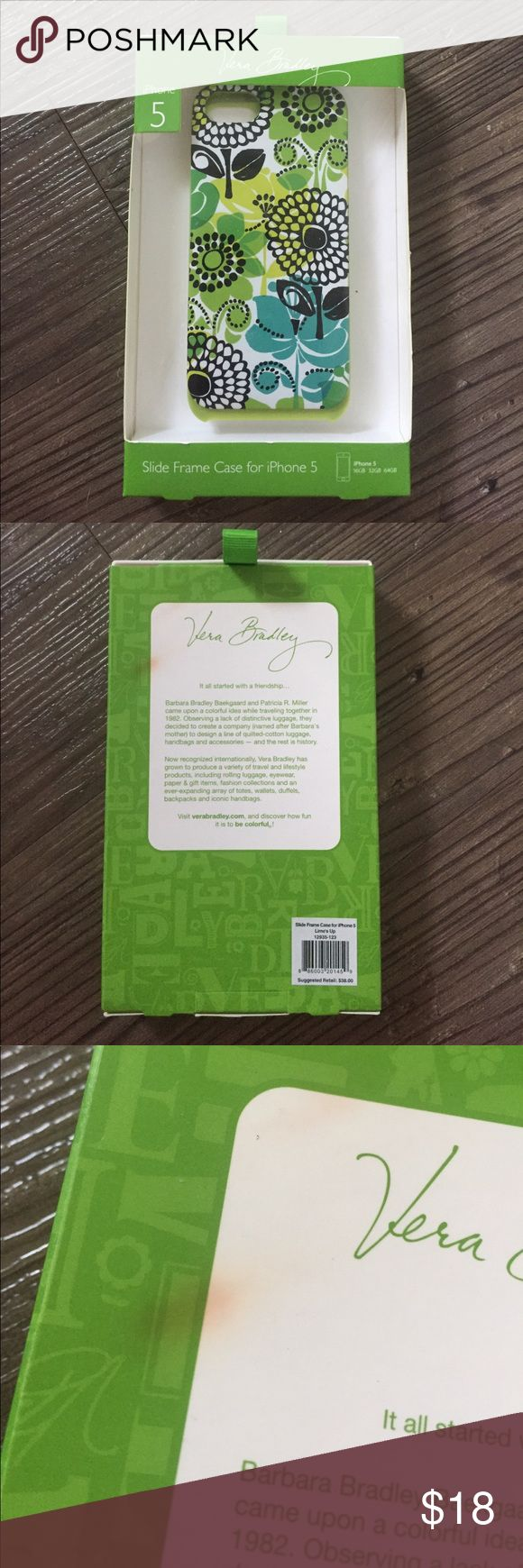 🔥SALE🔥Vera Bradley iPhone 5 Lime's Up NWT Vera Bradley iPhone 5 case in the Lime's Up pattern. There is a slight discoloration on the box which is reflected in the price. I am in the process of moving and open to offers. Vera Bradley Accessories Phone Cases