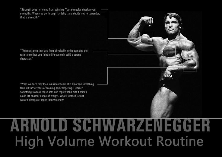 This is Arnold Schwarzenegger's high volume workout routine that was featured in a 1991 issue of Muscle Mag. High volume training focuses on building muscle and a strong physique. High volume training is basically performing a workout routine f