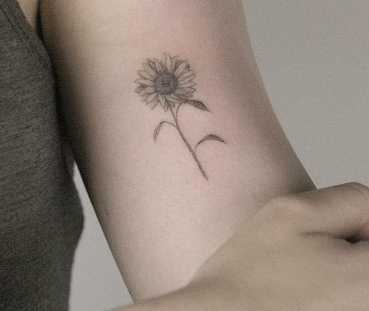 Small Black And White Tattoo Designs: Dainty Sunflower Tattoo