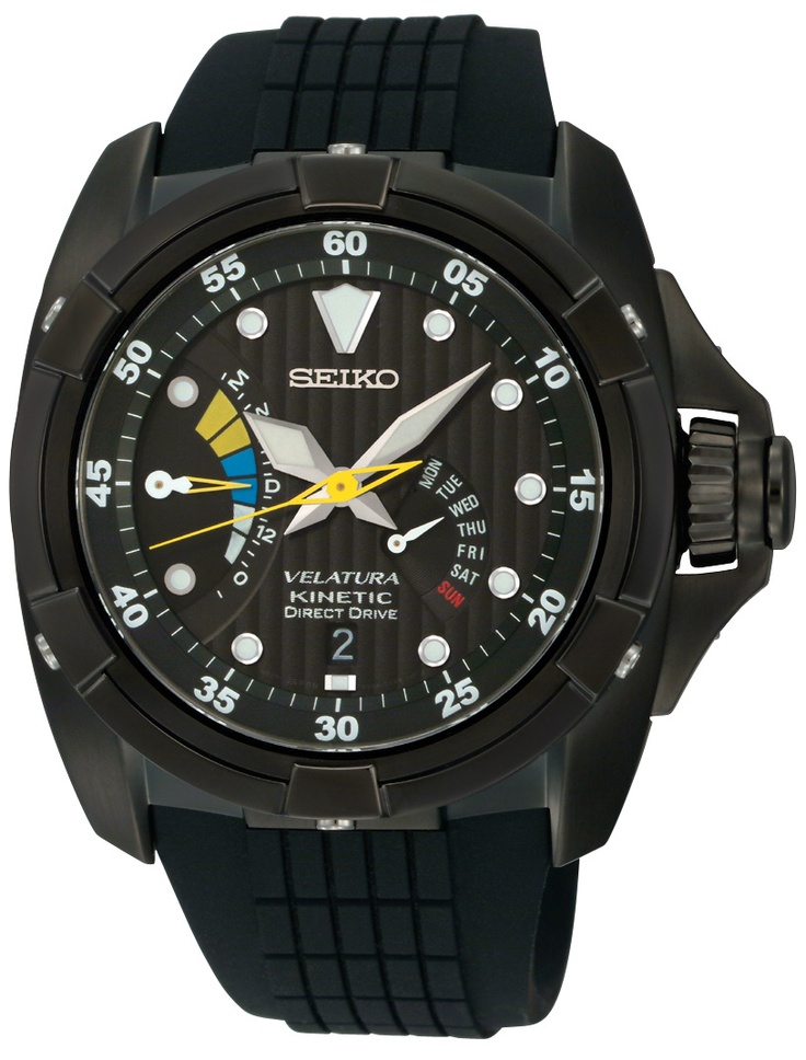 Seiko Velatura, Kinetic Direct Drive Watch, With urethane strap and black ion finish, SRH013  www.SeikoUSA.com