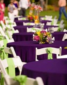 Purple Round Tablecloths With Apple Green Chair Sashes