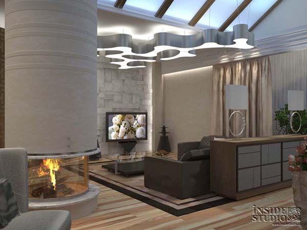 Интерьер загородного  дома. Дизайн проект гостиной.  Архитектор Ирина Рихтер  INSIDE-STUDIO Prague