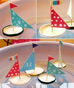 Süße Segelboote für die Badewanne - Deckel vom Marmeladenglas, Heißkleber, Zahnstocher und buntes Papier