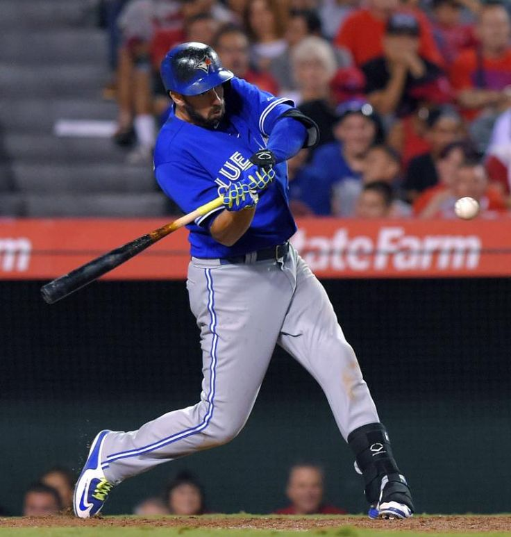 Josh Donaldson has 6 RBIs in Blue Jays' 15-3 rout of Angels - Toronto Blue Jays' Chris Colabello hits a two-run home run during the eighth inning of a baseball game against the Los Angeles Angels, Saturday, Aug. 22, 2015, in Anaheim, Calif.