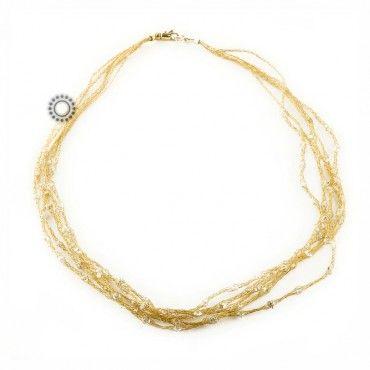 Ένα εντυπωσιακό κολιέ απαράμιλλης αισθητικής από 5 αλυσίδες πλεγμένες από χρυσό Κ14 με ενσωματωμένα ζιργκόν. Αποστολή εντός 24 ωρών.  #αλυσιδες #ζιργκον #χρυσο #κολιε