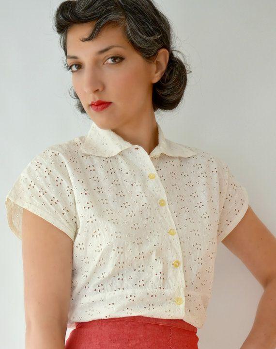 Vintage 1950s Pin Up shortSleeved shirt. by fridalarsensvintage, £35.00
