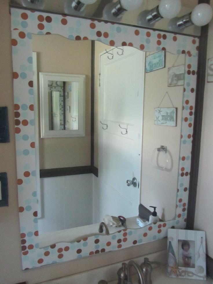 Contact paper border on mirror diy bathroom pinterest for Bathroom border paper