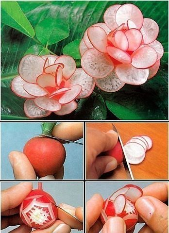 8 Ideas hermosas para hacer flores con verduras ~ cositasconmesh