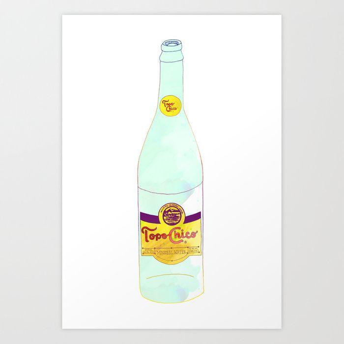Topo Chico Watercolor Print By Mizsant Bottle Art Topo Chico