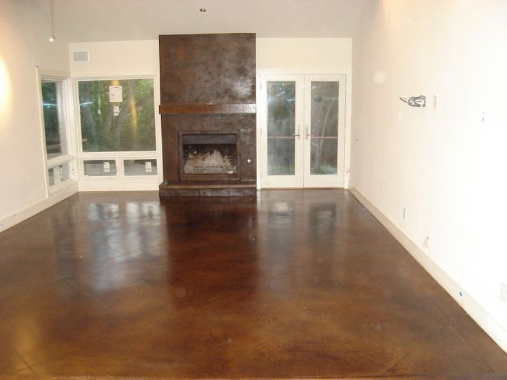 Cola Kona Brown Concrete Overlay Concrete Fireplace