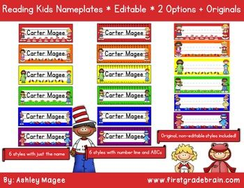 Updated and now Editable! These nameplates fit perfectly with a reading kids themed classroom. Six different styles are included. Stop buying nameplates year after year. Buy this file and print nameplates year after year! Print and laminate for durability. 18 styles included in all:6 editable styles with just the name6 editable styles with the name, alphabet, and number lineThe 6 original (non-editable) stylesDirections are included!