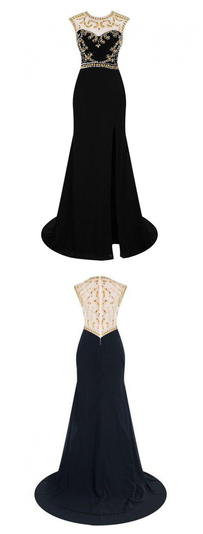 Prom Evening Dress, Eleghant Scoop Prom Dress, Sleeveless Prom Dress, Sweep Train Evening Dress, Black Split Prom Evening Dress