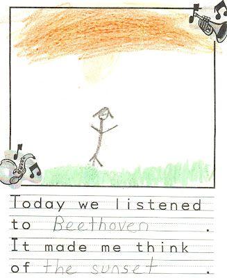 """Leuk idee om kinderen te laten tekenen tijdens het luisteren naar muziek. """"Waar denk je aan, wat zie je als je deze muziek hoort?"""""""