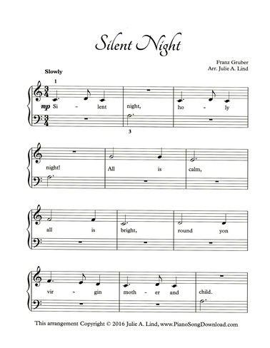 Silent Night, free printable Christmas piano sheet music.