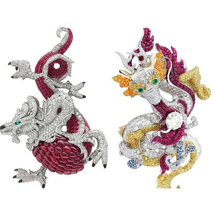 """Exquisite bejewelled dragons from @vancleefarpels Images from my gorgeous instajewel friend @hernameismargo ♥"""