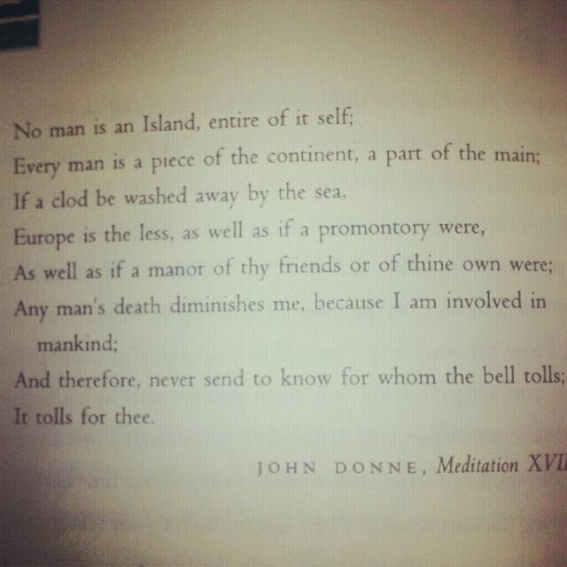 an analysis of john donnes meditation seventeen This famous meditation of donne's puts forth two essential ideas which are representative of the renaissance era in which it was written: the idea that people are not isolated from one another, but that mankind is interconnected and  biography of john donne.