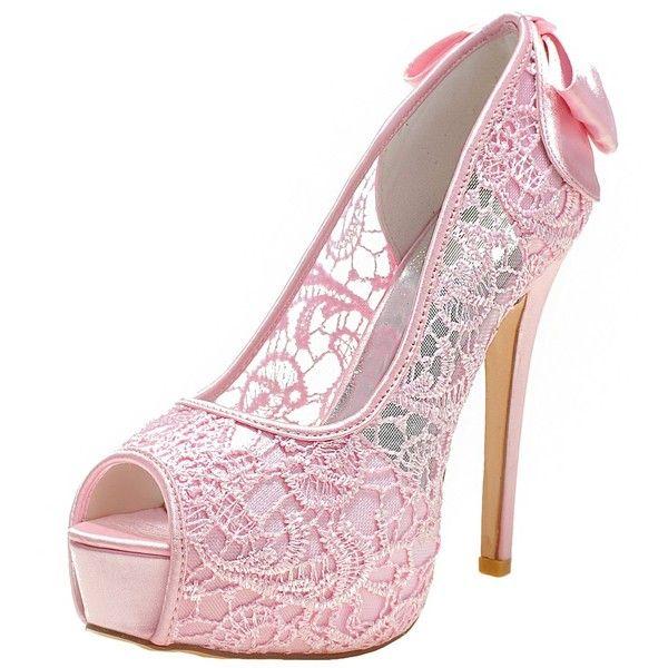 LOSLANDIFEN Women's Peep Toe Sexy Stiletto High Heels Wedding Pumps... ($54) ❤ liked on Polyvore featuring shoes, pumps, wide shoes, sexy pumps, sexy high heel pumps, peep toe shoes and peep-toe shoes