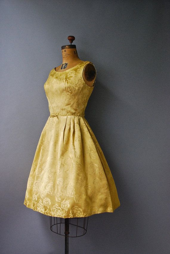 1960's Gold Sleeveless Dress//Satin by CapsuleVintage on Etsy