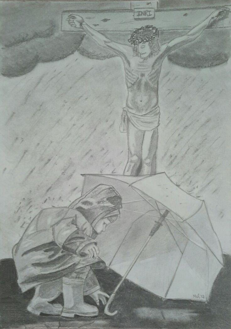 Het kruis, de enige plek waar het veilig is... Potlood en houtskool.