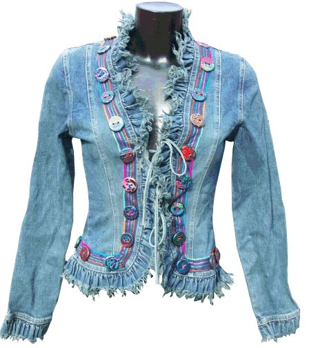 Redesigned, embellished jean jacket. so similar to my green jacket; but with fringe instead of the organdy ruffle...