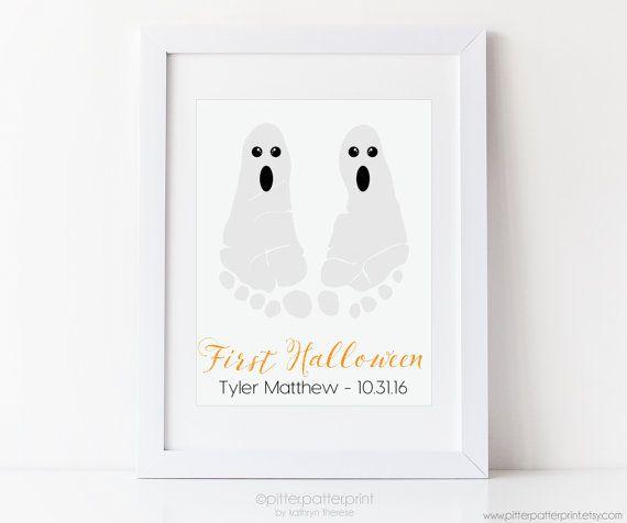 Baby's First Halloween Ghost Footprint Art by PitterPatterPrint
