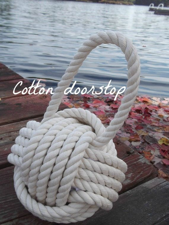 Nautical Decor - Cotton Nautical Doorstop - with Handle - under 40 gift for her, for him, wedding gift, anniversary gift or birthday gift on Etsy, $34.93