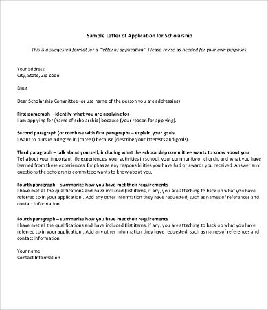 11 scholarship application letter templates pdf doc ...
