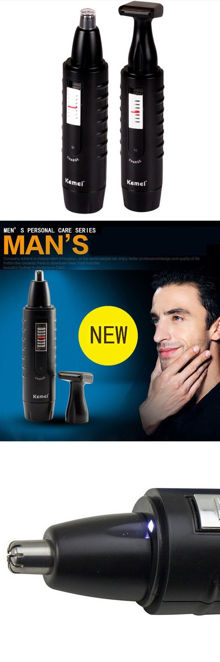 [Visit to Buy] 2017 Mens Ear Nose Face Neck Eyebrow Beard 2 in 1 Trimmer Hair Shaver Clipper Remover #Advertisement