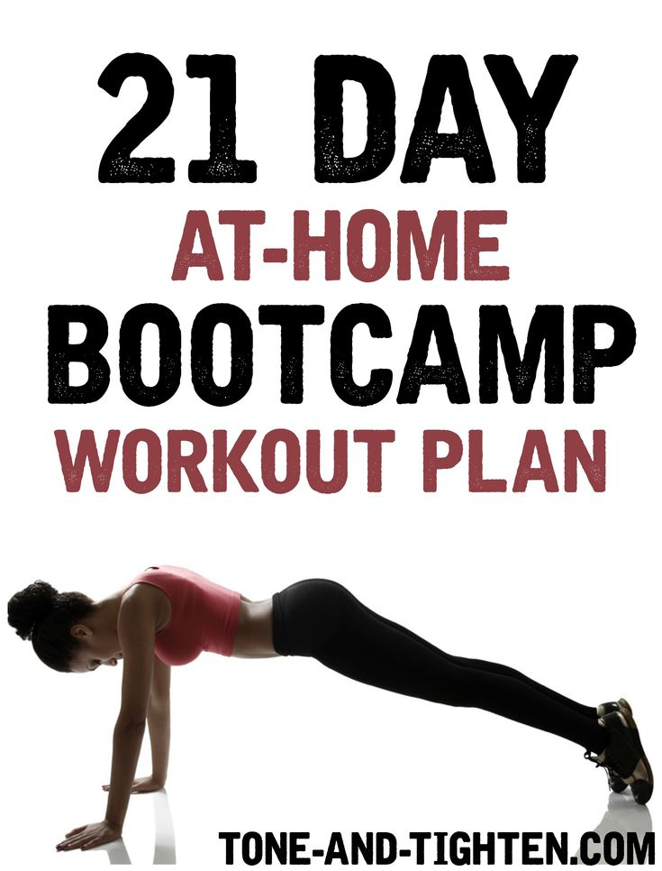 Don't think that you can get a great workout at home? Well, think again! This 21 Day Bootcamp Workout Plan will push you to the limit and burn some serious calories. Level: Intermediate-Advanced *E...