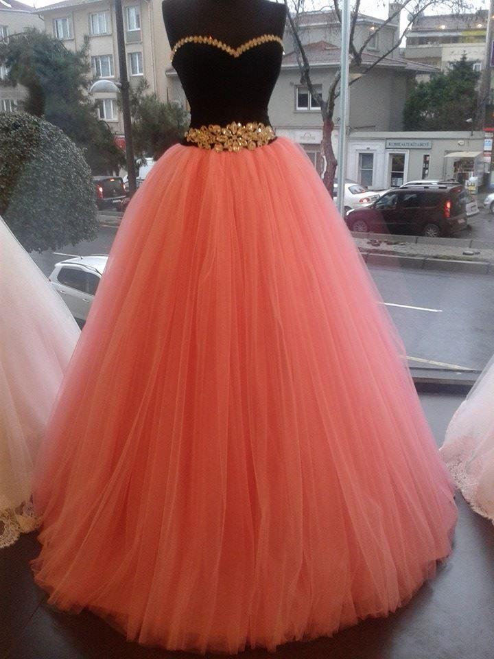 Pembe siyah prenses etek abiye   Gelinlik Çeşitleri 2013-2014 Gelinlik Modası