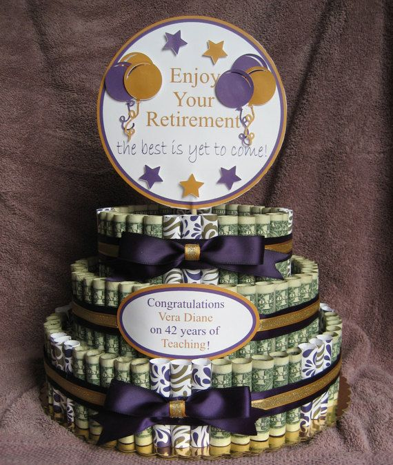 """MONEY CAKE A """"Retirement"""" A Fun Unquie Way to Give Money as a Gift to Celabrate those Special Occasions. by creativecreationsmc. Explore more products on http://creativecreationsmc.etsy.com"""