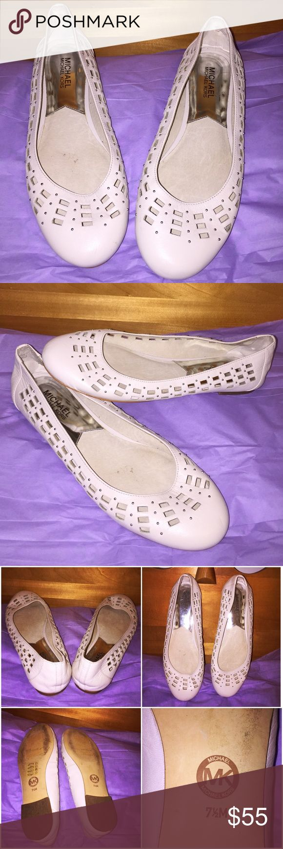 Michael Kors White/Cream Ballet Flats In great conditions. White/cream Micheal Kors ballet slippers. White Leather upper decorated with silver rounded studs. Very cute. Comfortable for walking. Gently used. No visible damage. Minimal wear to sole. Michael Kors Shoes Flats & Loafers
