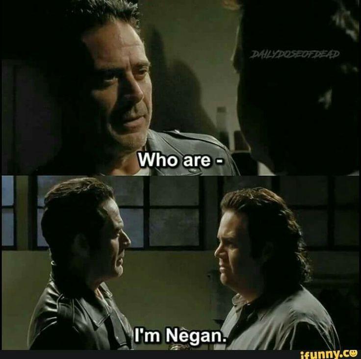 "Negan (Jeffrey Dean Morgan) and Eugene Porter  (Josh McDermitt) blurring out ""I'm Negan"" | The Walking Dead Season 7B Episode 11 'Hostiles and Calamities'"