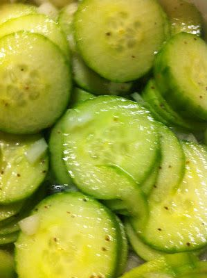 Nana's Recipe Box: Weight Watcher's Cucumber Cooler - 0 points...I love to do with cucumbers, hot sauce, cider vinegar, olive oil, splenda, salt & some red onions (or sesame oil, salt, Splenda & rice vinegar)