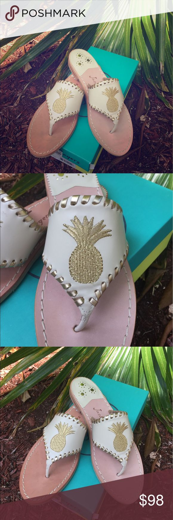 Jack Rogers Pineapple Sandals Never worn in box. Jack rogers Sandals. Cream with gold Pineapple. Jack Rogers Shoes Sandals