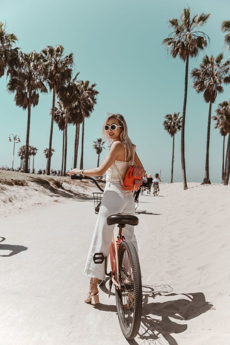 Riding Bikes In Venice And My Summer White Jean Culottes Beach Bike Ride Beach Bike Summer Beach Pictures