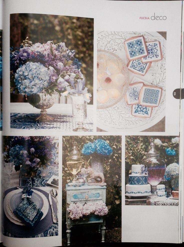 """Revista Fucsia Novias, Edición #23, 2014 Articulo """"Lila + Azul Petroleo"""" by MY Group Eventos"""