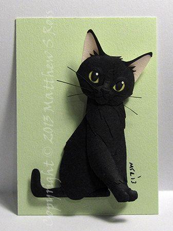 CUSTOM Cat Kitten ACEO Mini escultura de papel de PaperMatthew, $ 55.00