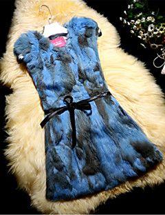 Kadın Orta Tavşan Kürkü Kolsuz Yuvarlak Yaka,Mavi / Pembe / Gri / Yeşil / Sarı / Mor Sonbahar / Kış Zıt Renkli SevimliGünlük/Sade /