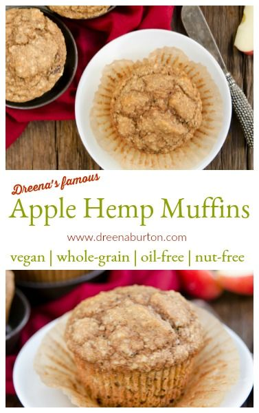 These Apple Hemp Muffins are hot! These whole-grain, vegan muffins by Dreena Burton are easy to make, delicious, tender, and also nut-free and oil-free. #vegan #oilfree